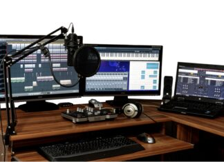 Music production computer with DAW.