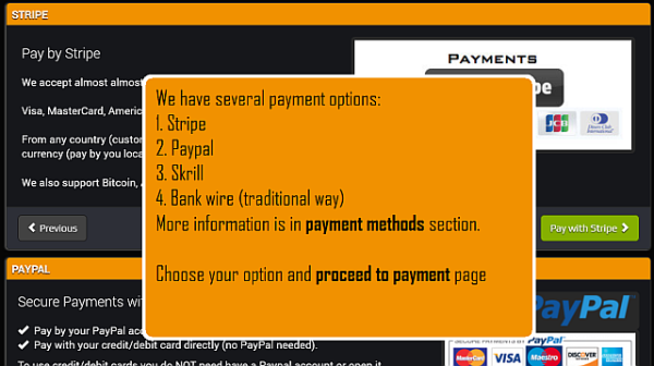 Now choose one of our payment options.