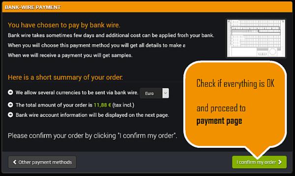 Revise o anúncio de resumo e siga para o gateway de pagamento.